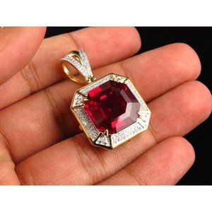5.40 Ct Asscher shape red ruby and diamond necklac